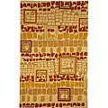 Handmade Rodeo Drive Beige/ Rust New Zealand Wool Rug (6' x 9')