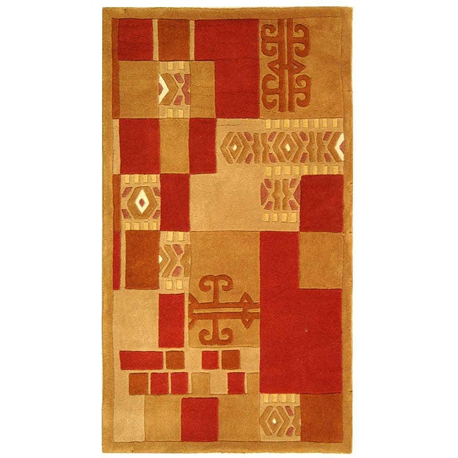 Safavieh Handmade Rodeo Drive Modern Abstract Beige/ Red Wool Rug (2'6 x 4'6)