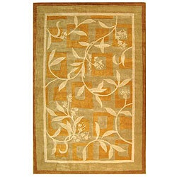 Handmade Rodeo Drive Manor Gold/ Ivory N.Z. Wool Rug (8' x 11')