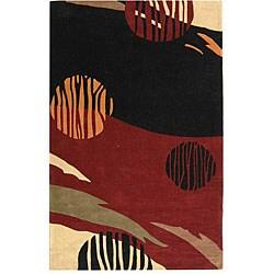 Handmade Rodeo Drive Twilight Black/ Red N.Z. Wool Rug (5' x 8')