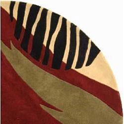 Safavieh Handmade Rodeo Dr. Twilight Black/ Red N.Z. Wool Rug (5'9 Round)
