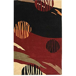 "Handmade Twilight Black/ Red N. Z. Wool Rug (7'6"" x 9'6"")"