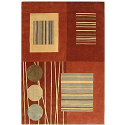 "Handmade Rodeo Drive Voe Brown/ Multi N.Z. Wool Rug (7'6"" x 9'6"")"