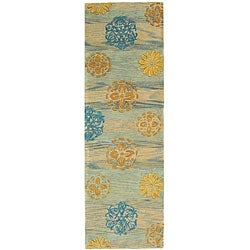Safavieh Handmade Rodeo Drive Blox Blue/ Multi N.Z. Wool Runner (2'6 x 8')