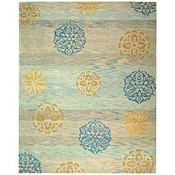 Safavieh Handmade Rodeo Drive Blox Blue/ Multi N.Z. Wool Rug (8' x 11')