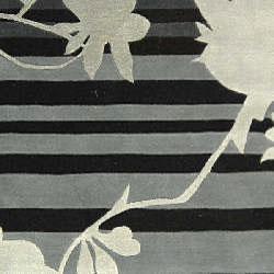 Handmade Rodeo Drive Portrait Black/ Grey N.Z. Wool Rug (5' x 8')