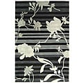 Handmade Rodeo Drive Portrait Black/ Grey N.Z. Wool Rug (5' x 8')