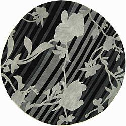 Safavieh Handmade Portrait Black/ Grey N. Z. Wool Rug (5'9 Round)