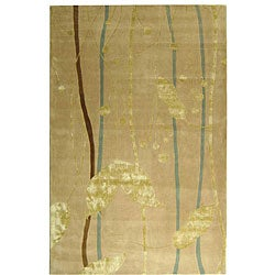 Handmade Rodeo Drive Parad Ivory/ Gold N.Z. Wool Rug (9'6 x 13'6)