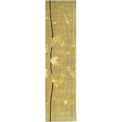 Handmade Parad Ivory/ Gold N. Z. Wool Runner (2'6 x 10')