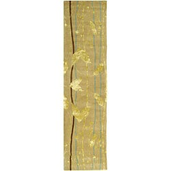 Handmade Parad Ivory/ Gold N. Z. Wool Runner (2'6 x 14')