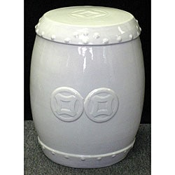 Double-coin White Ceramic Stool