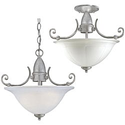 Two-light Convertible Fixture in Silver Antiquity
