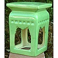 Square Lime Green Ceramic Stool