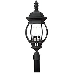 Outdoor Post 3-light Black Finish Lantern