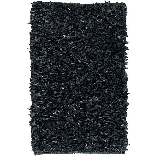 Deluxe Black Leather Shag Rug (5' x 8')