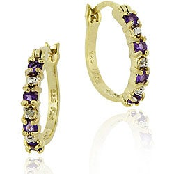 Glitzy Rocks 18k Gold Sterling Silver Amethyst Hoop Earrings