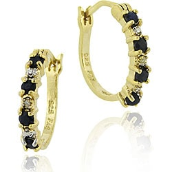 Glitzy Rocks 18k Gold Sterling Silver 2/5ct TGW Sapphire Hoop Earrings