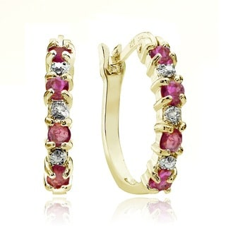 Glitzy Rocks 18k Gold Sterling Silver Ruby Hoop Earrings