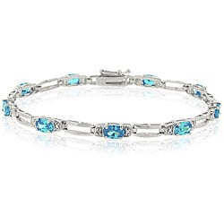 Icz Stonez Sterling Silver Light Blue Cubic Zirconia Bracelet