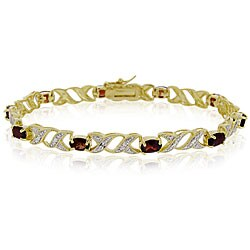 Glitzy Rocks 18k Gold over Silver Garnet Bracelet