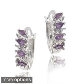 Glitzy Rocks Silver Gemstone Hoop Earrings