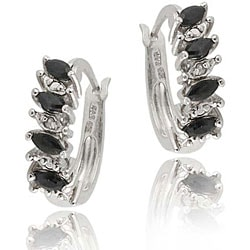 Glitzy Rocks Sterling Silver Sapphire Hoop Earrings