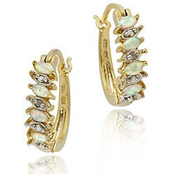 Glitzy Rocks 18k Gold over Silver Synthetic Opal Hoop Earrings