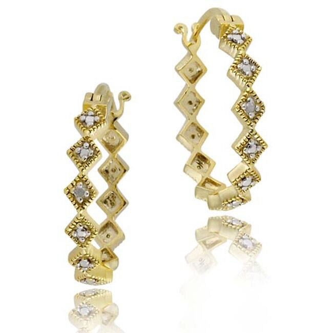 DB Designs 18k Gold over Silver Diamond-shaped Earrings