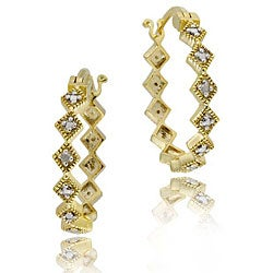 DB Designs 18k Gold over Silver Diamond-shaped Earrings
