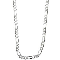 Sterling Essentials Sterling Silver 24-inch Diamond-Cut Figaro Chain ( 4mm)