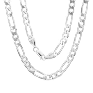 Sterling Essentials Sterling Silver 22-inch Diamond-Cut Figaro Chain (6mm)