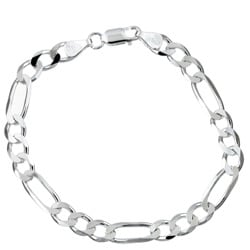 Sterling Essentials Sterling Silver 7-inch Diamond-Cut Figaro Bracelet (6mm)