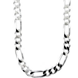 Sterling Essentials Sterling Silver 30-inch Diamond-Cut Figaro Chain (8mm)