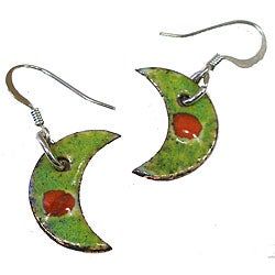 Enamel/ Copper Green Crescent Earrings (Chile)