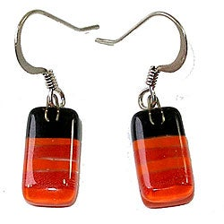 Glass Brown/ Orange/ Red-striped Earrings (Chile)