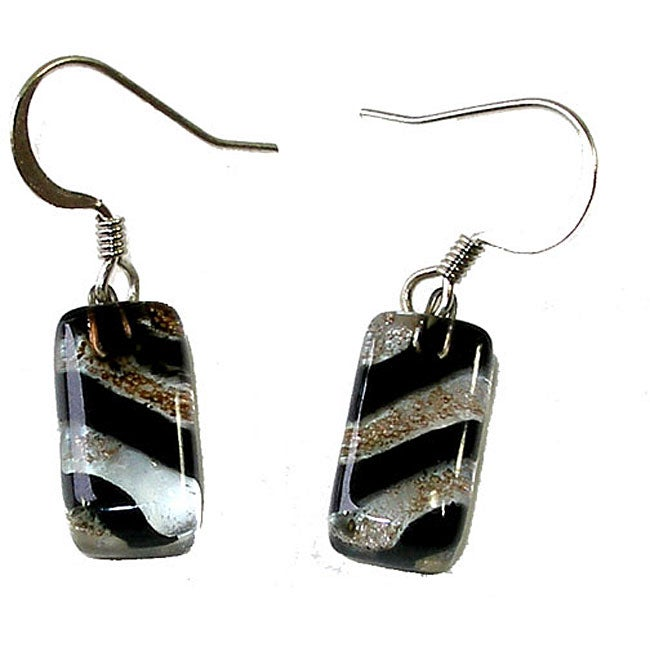 Glass Black Striped Earrings (Chile)