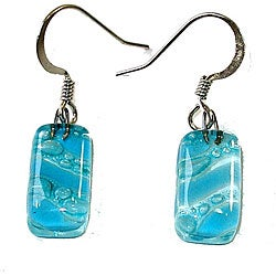 Glass Blue Bubbles and Stripes Earrings (Chile)