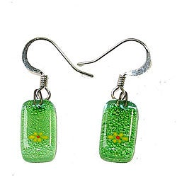 Rectangular Glass Green with Flower Earrings (Chile)