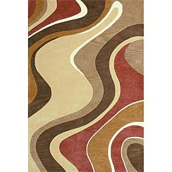 Hand-tufted Ackworth Swirls Beige/ Rust Runner (2'3 x 7'6)