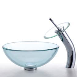 Kraus Clear Glass Sink and Waterfall Bathroom Faucet