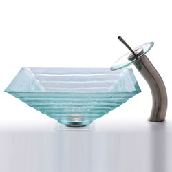 Kraus Square Clear Alexandrite Sink and Waterfall Faucet