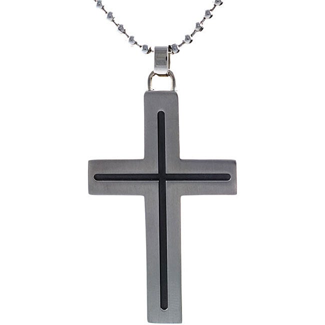 Stainless-Steel Cross Necklace with Ball Chain