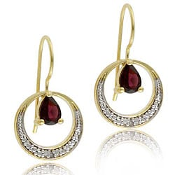 Glitzy Rocks 18k Goldplated Silver Garnet and Diamond Earrings (I-J, I3)