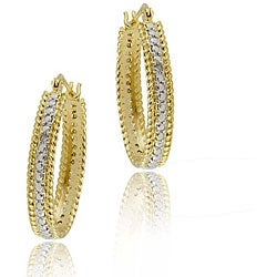 DB Designs 18k Gold over Silver Diamond Oval Hoop Earrings