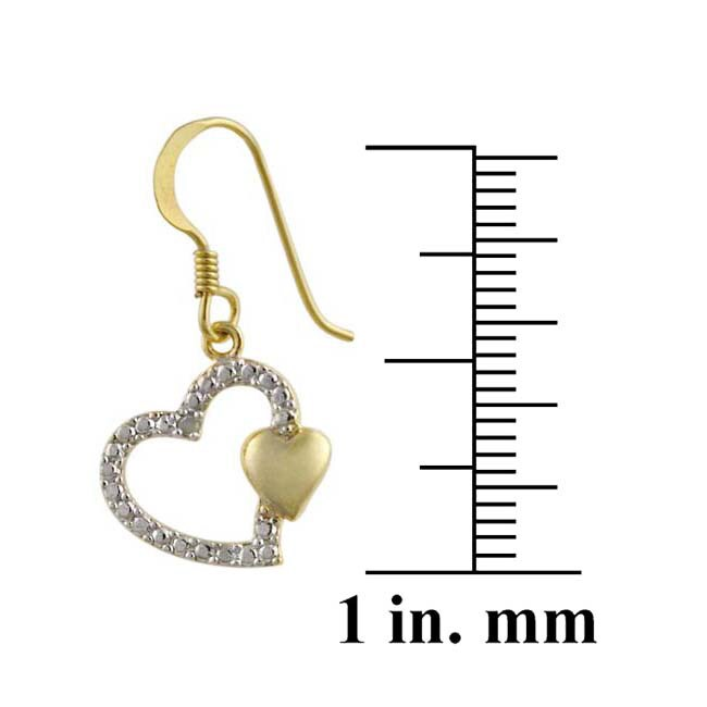 DB Designs 18k Gold over Silver Diamond Heart Earrings