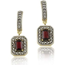 Glitzy Rocks 18k Gold over Silver Garnet and Diamond Earrings