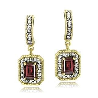 Glitzy Rocks 18k Gold over Silver Garnet and Diamond Earrings