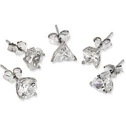 Icz Stonez Sterling Silver Cubic Zirconia Stud Earrings (Set of 5)