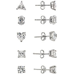 Icz Stonez Sterling Silver Cubic Zirconia Stud Earrings (Set of 5)